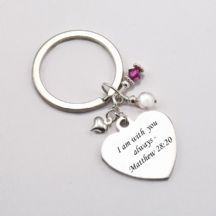 Catholic Keyring with Biblical Engraving